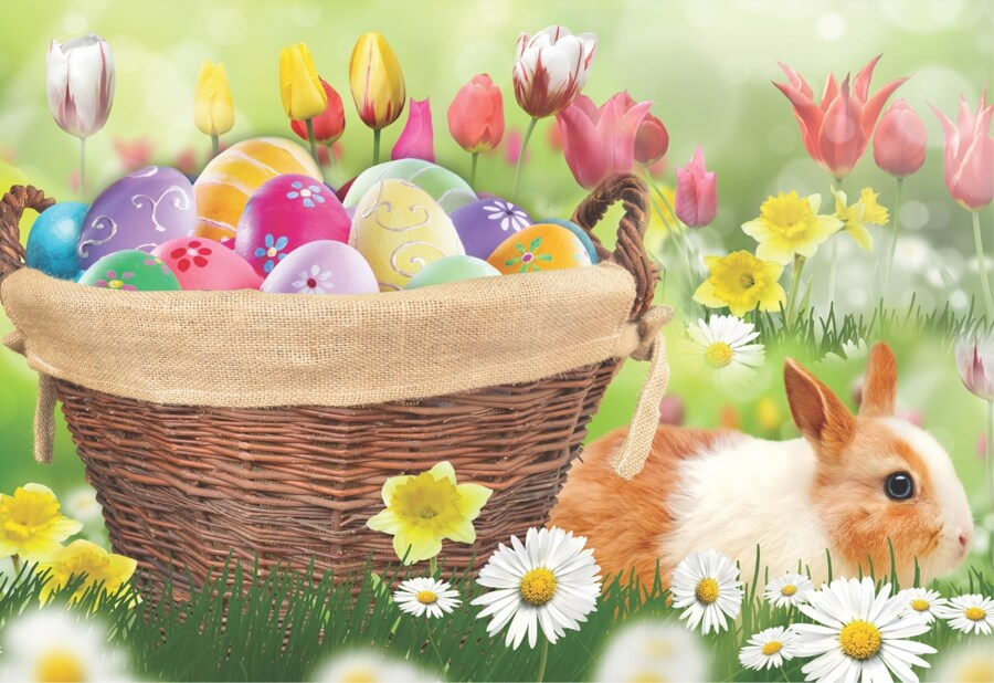 Bunny Easter Basket Flowers and Eggs Jigsaw MicroPuzzle