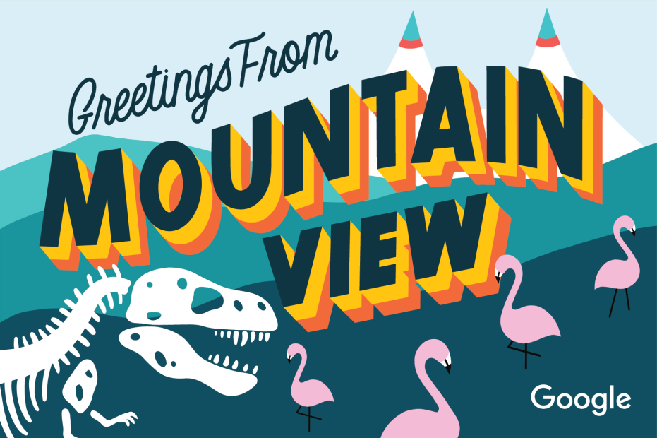 Google Greetings from Mountain View Dinosaur Bones Pink Flamingo MicroPuzzle jigsaw puzzle