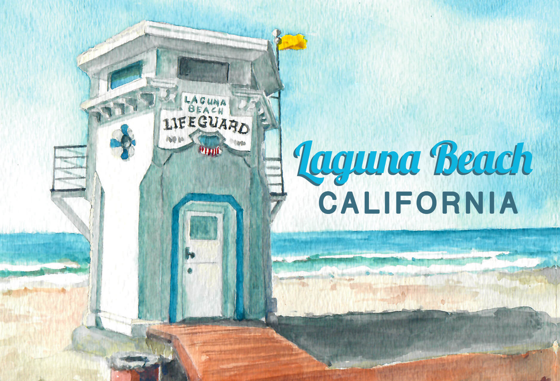 Puzzle showing the iconic Laguna Beach Life Guard Tower and pacific ocean