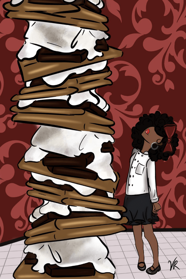 S'mores stacked high girl in skirt looks up Marshmallow of The Month Club jigsaw puzzle mini micropuzzle
