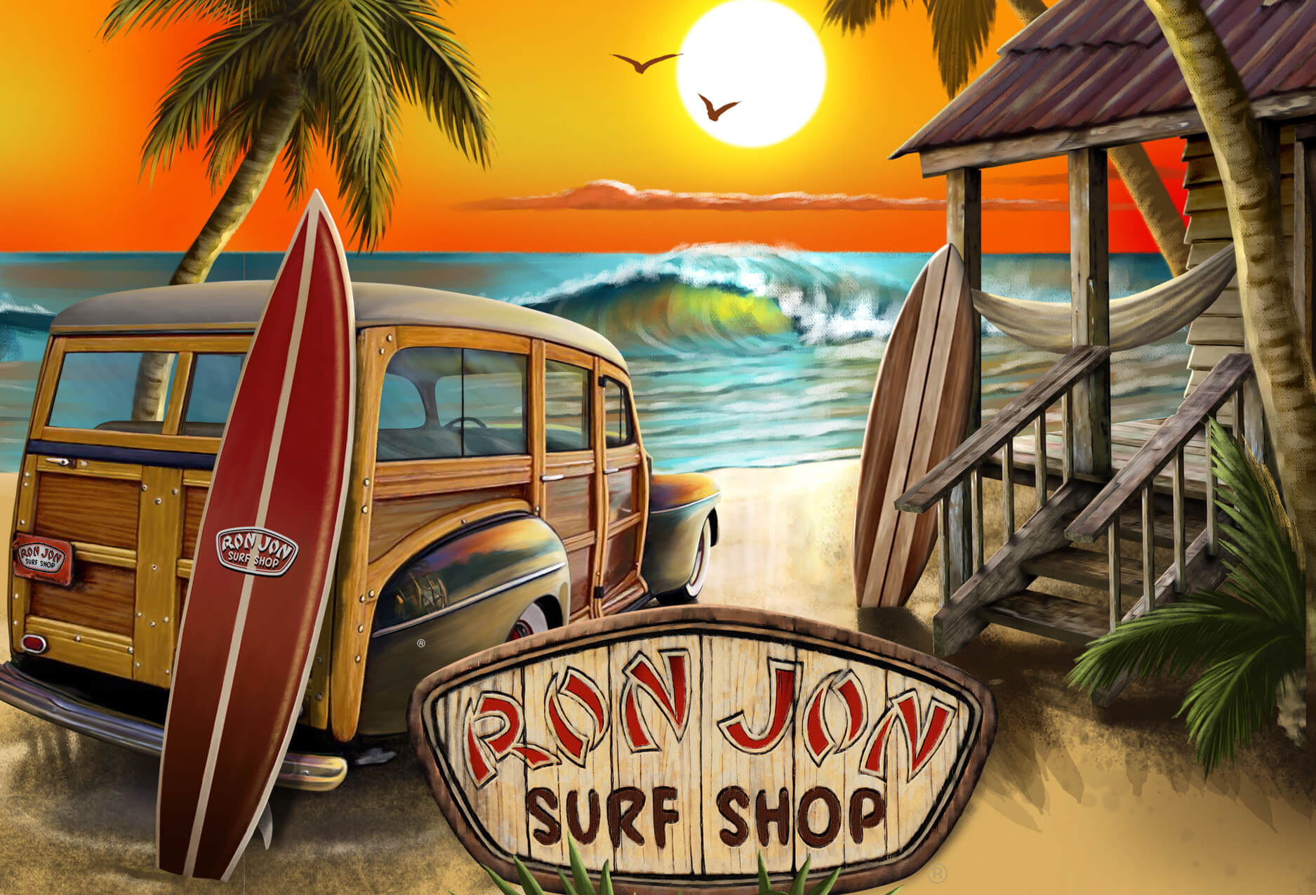 Puzzle showing Ron Jon woody wagon surfboards beach and ocean view
