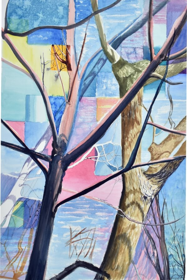Patchwork Trees Art Blue Pink no leaves Tammy Nara Jigsaw Puzzle MicroPuzzle mini