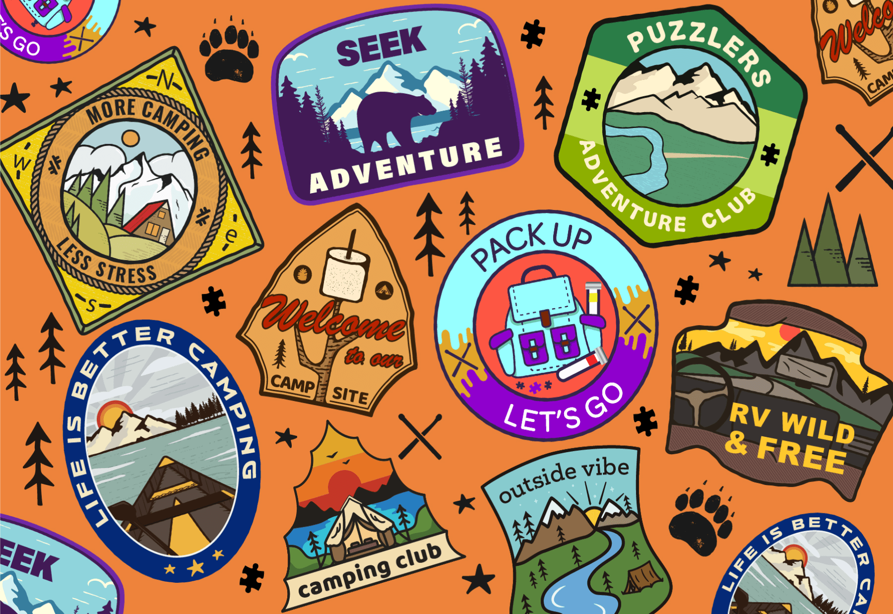 camping merit badges on an orange background mini micro jigsaw puzzle