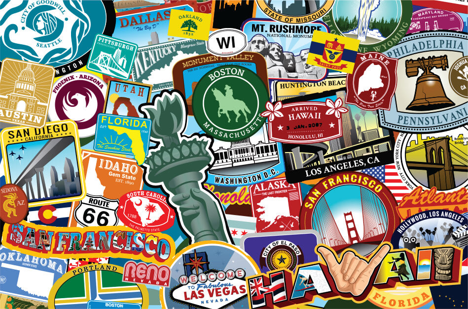 USA states and cities arranged as a collage puzzle MicroPuzzle