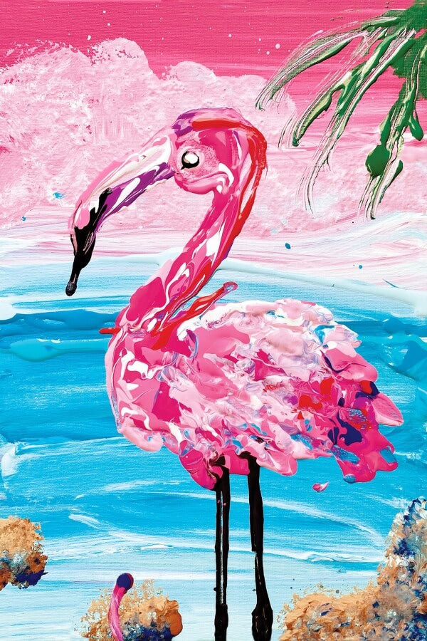 pink flamingo in front of ocean micropuzzle micro mini jigsaw puzzle