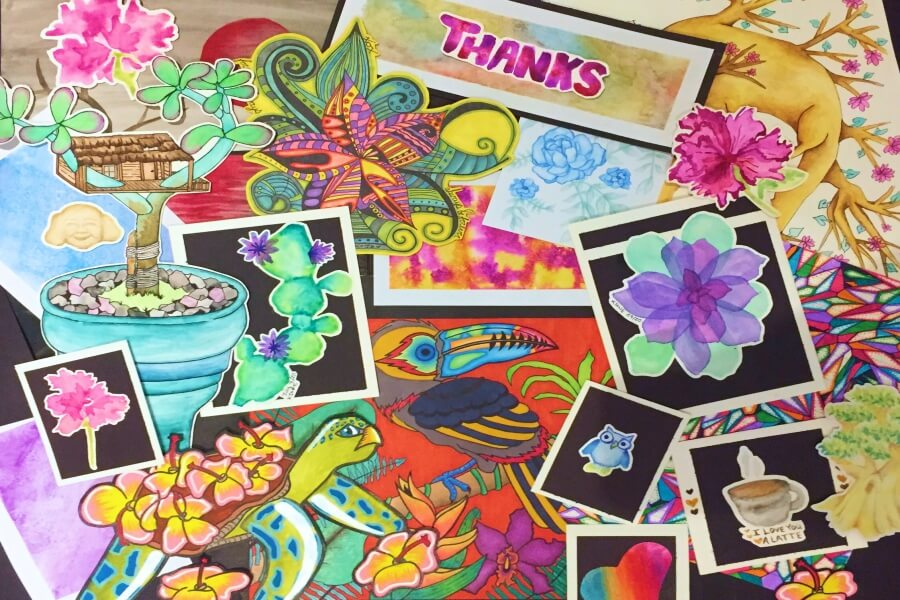 Kara Jane collage  tree stamps thanks you micropuzzle puzzle jigsaw mini