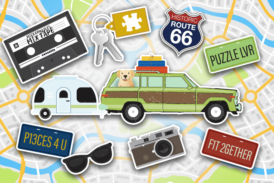 RoadTrip - station wagon license plate and mix tape over a map micropuzzles jigsaw puzzle mini