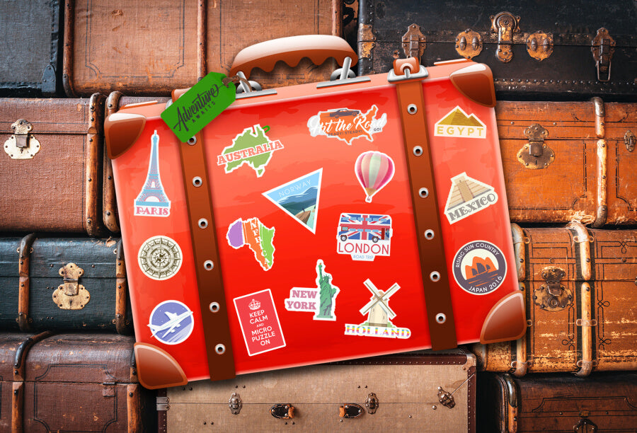 suitcase with stickers puzzle jigsaw micropuzzle micro