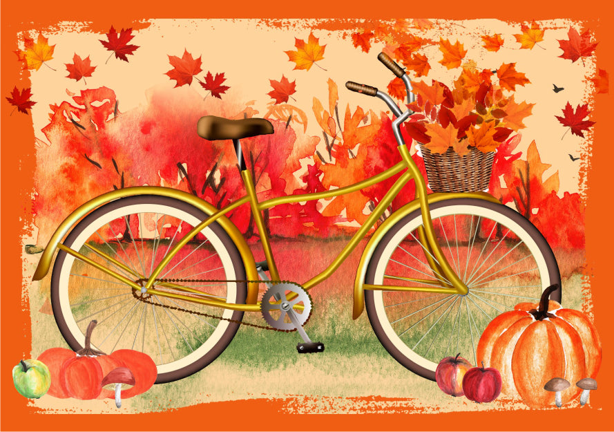 bicycle bike jigsaw puzzle micropuzzle leaves orange autumn fall
