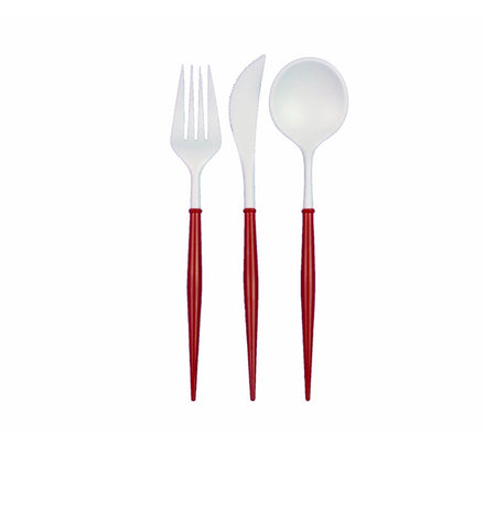 Jade Cutlery- Red/White- 24 PC Set
