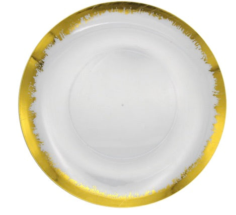 Scratch Gold/Clear Dinner Plates- Set of 10
