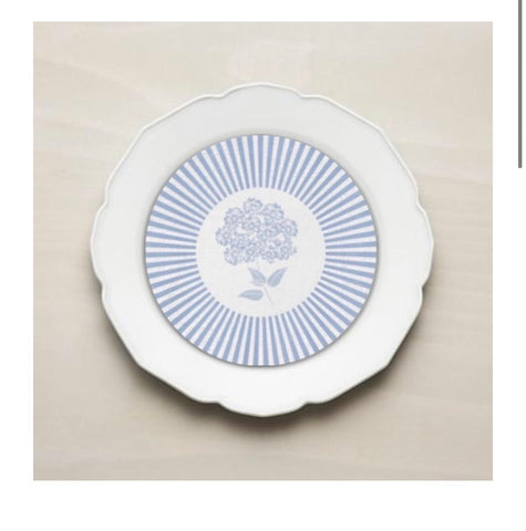 Hydrangeas Plate Accent (Salad Size)- Set of 24