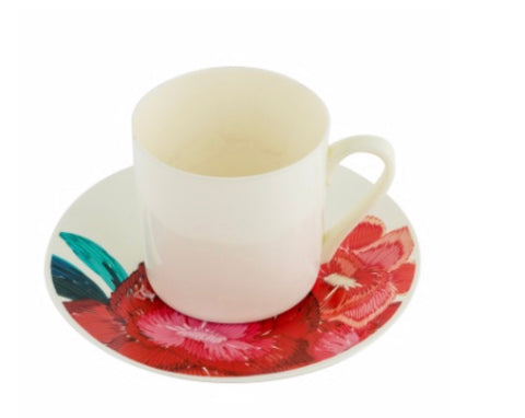 Red Flower Tea Cup & Saucer- Set of 6