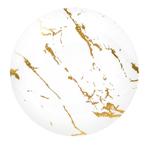 White & Gold Marble Salad/Dessert Plates- Set of 10