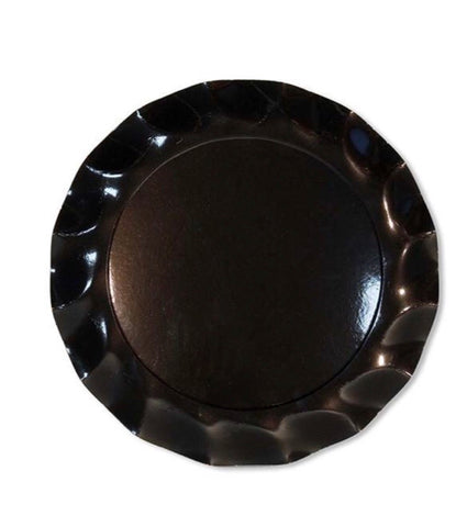 Ruffle Charger Plates High Gloss Black- Set of 5