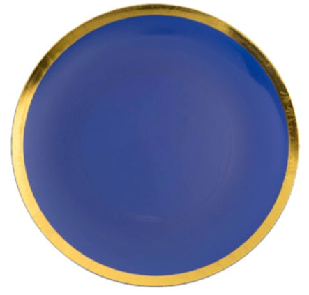 Cobalt Blue/Gold Rim Dinner Plate - Set of 10