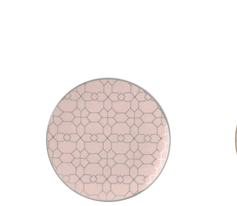 Blush & Silver Geometric Salad/ Dessert Plates- Set of 10
