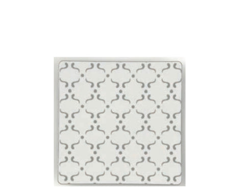 White & Silver Geometric Square Dinner Plates- Set of 10