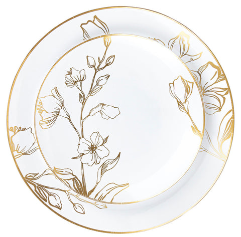 Antique Floral Dessert Plates- Set of 10