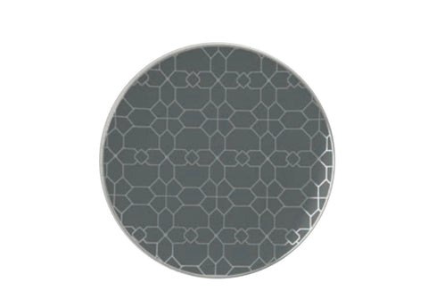 Grey & Silver Geometric Dinner Plates- Set of 10