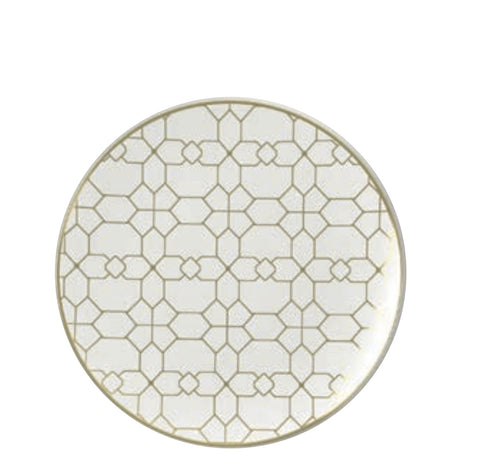 White & Gold Geometric Salad/ Dessert Plates- Set of 10