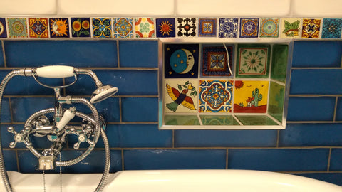 Stunning bathroom featuring our authentic Mexican tiles