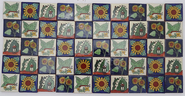 Pack of 50 Assorted Talavera Mexican Handmade 5cm Tiles: México Naturaleza