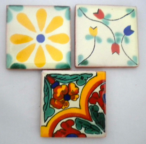 """Los Florals"" Tile Collection - 50 x 5cm Assorted Talavera Mexican Handmade Tiles"