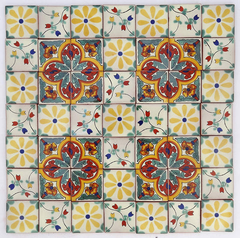 Pack of 50 Assorted Talavera Mexican Handmade 5cm Tiles: Los Florals