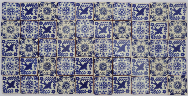 """Azul y Blanco"" Tile Collection - 50 x 5cm Assorted Talavera Mexican Handmade Tiles"