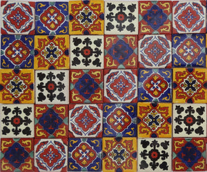 """El Cuadrángulo"" Tile Collection - 50 x 5cm Assorted Talavera Mexican Handmade Tiles"