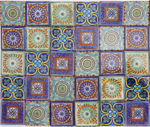 """Hermosos Patrones"" Tile Collection - 50 x 5cm Assorted Talavera Mexican Handmade Tiles"