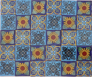 """Blue Tones"" Tile Collection - 50 x 5cm Assorted Talavera Mexican Handmade Tiles"