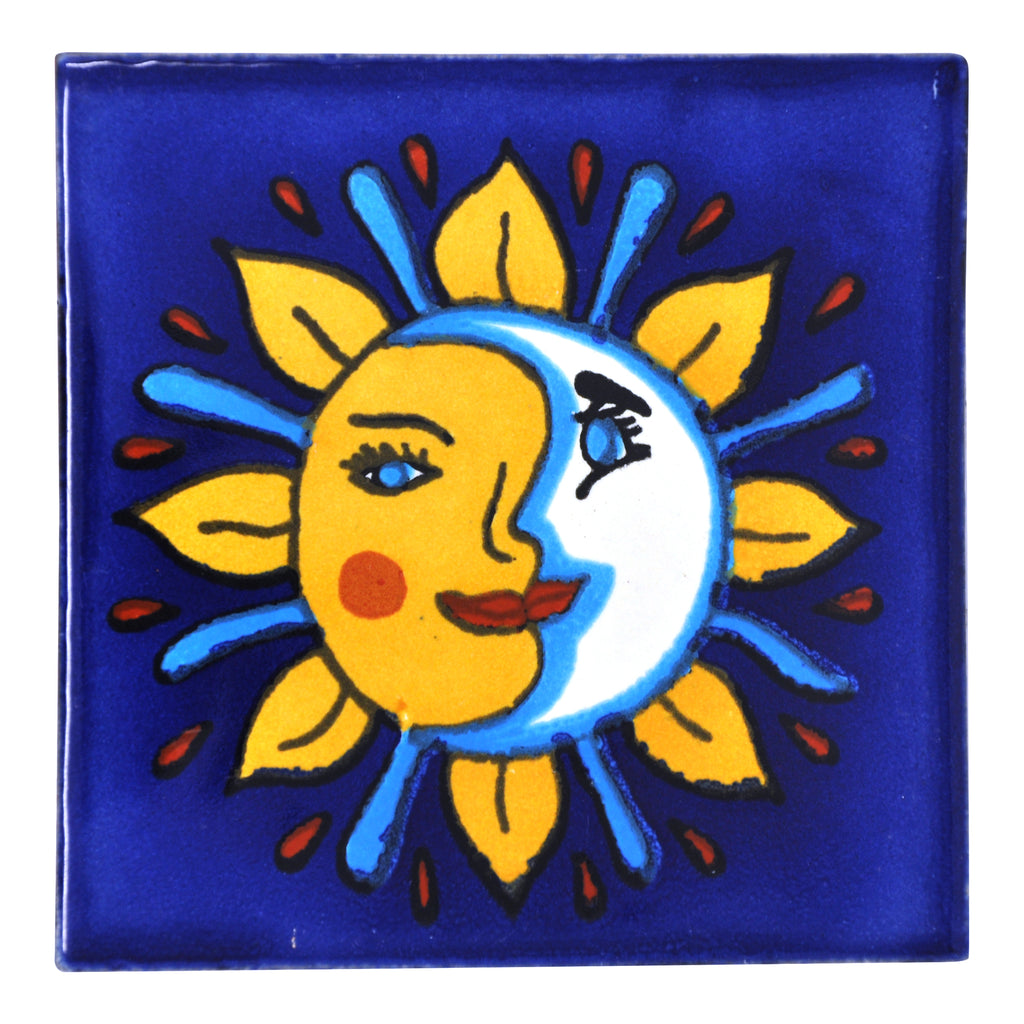 Pack of 25 Assorted Talavera Mexican Handmade 10.5cm Tiles Arte Mexicano