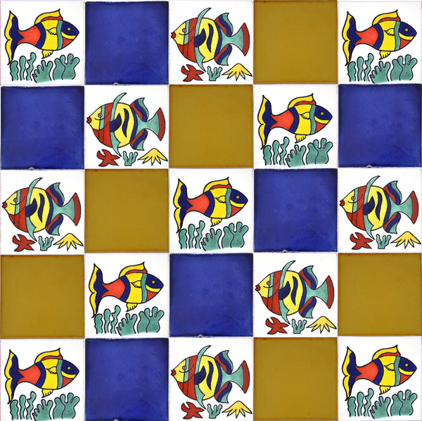 """Peces Tranquilo"" Tile Collection - 25 x 10.5cm Assorted Talavera Mexican Handmade Tiles"