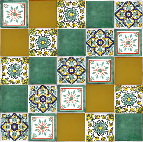 """Fresco"" Tile Collection - 25 x 10.5cm Assorted Talavera Mexican Handmade Tiles"