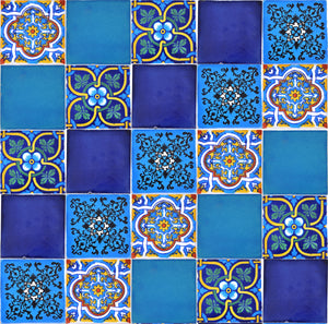 """Azul Brillante"" Tile Collection - 25 x 10.5cm Assorted Talavera Mexican Handmade Tiles"