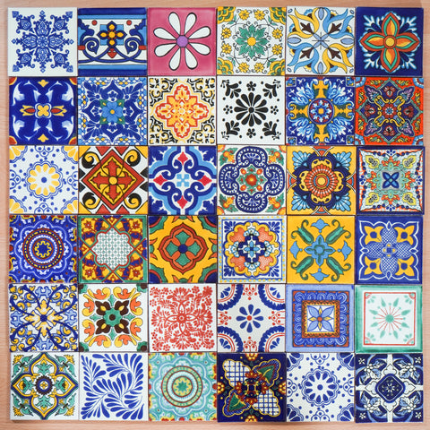 """Aleatorio"" Tile Collection - 36 x 10.5cm Assorted Talavera Mexican Handmade Tiles"