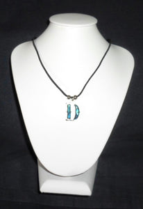 """D""  Letter ""D"" necklace made from Abalone Paua shell ."
