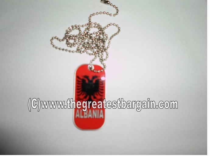 Albania ID/Dog Tag double sided with chain Necklace