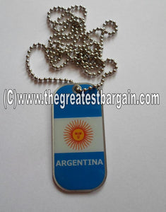 Argentina ID/Dog Tag double sided with chain Necklace