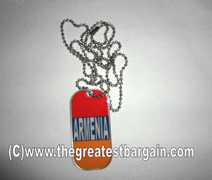 Armenia ID/Dog Tag double sided with chain Necklace