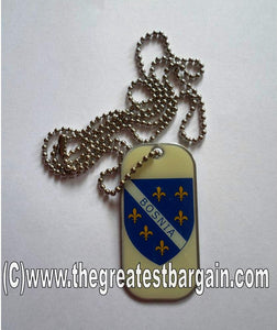 Bosnia ID/Dog Tag double sided with chain Necklace