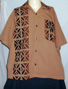 Tapa Brown shirt. Size is 2XL .POLYNESIAN SIZE. MADE IN NEW ZEALAND.