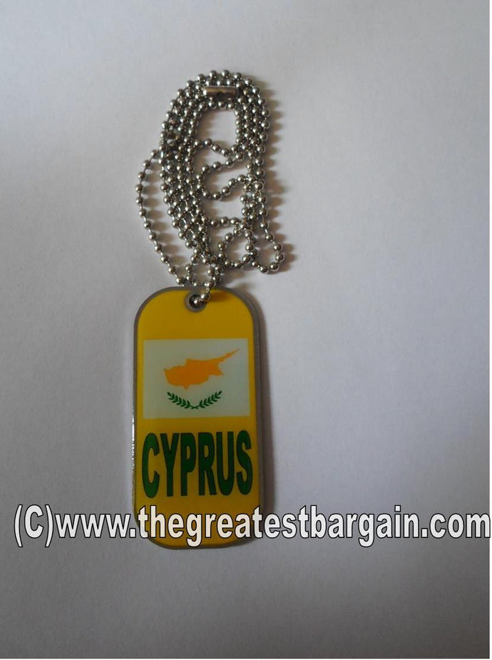 Cyprus ID/Dog Tag double sided with chain Necklace