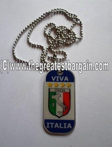 Italy/Italia ID/Dog Tag double sided with chain Necklace