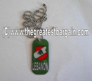 Lebanon ID/Dog Tag double sided with chain Necklace-Green