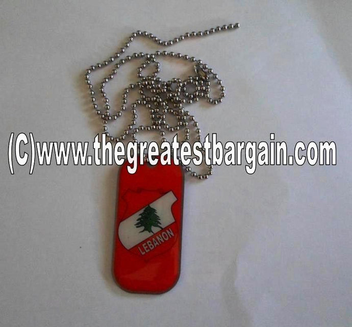 Lebanon ID/Dog Tag double sided with chain Necklace-Red