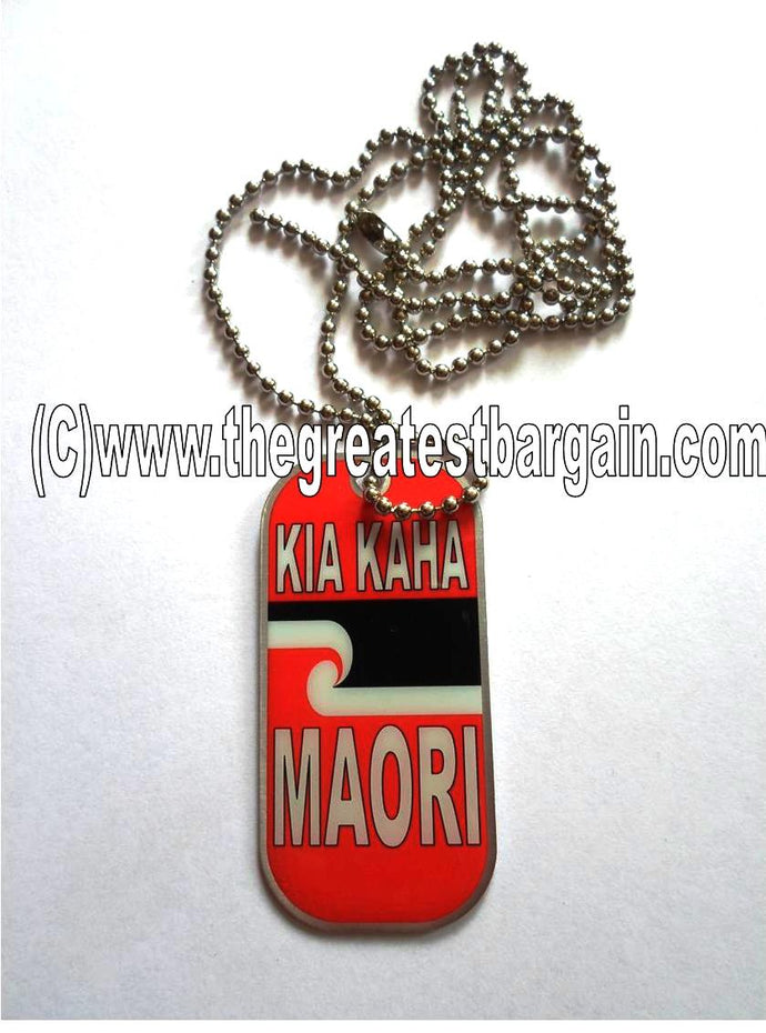 New Zealand Maori ID/Dog Tag double sided with chain Necklace