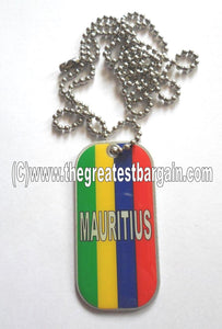 Mauritus ID/Dog Tag double sided with chain Necklace